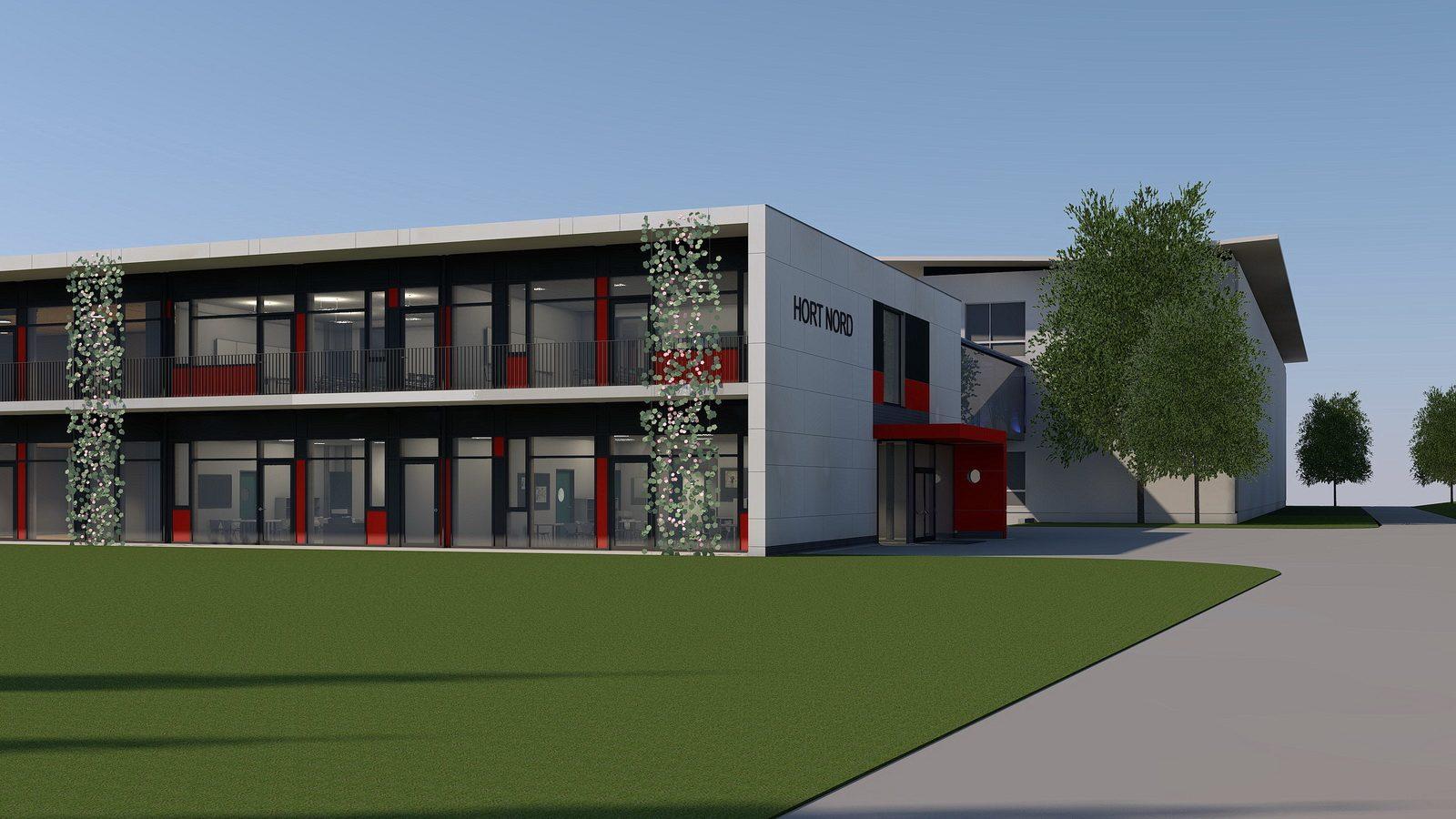 Rendering der Erweiterung der Schule Nord