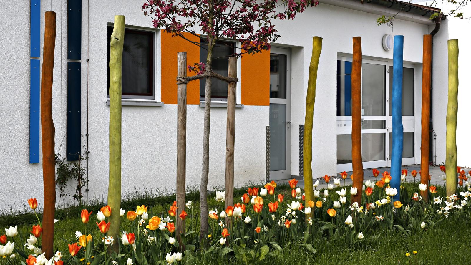 Tulpen unter Holzstelen im Kindergarten